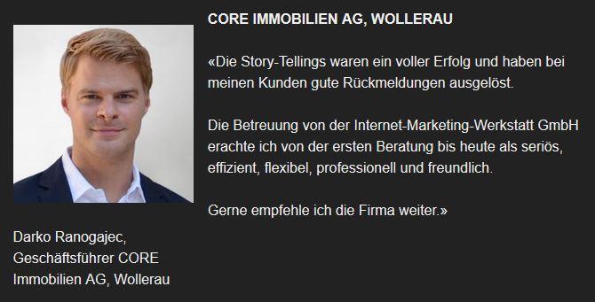 Kunde der Internet-Marketing-Werkstatt.ch GmbH - Core Immobilien